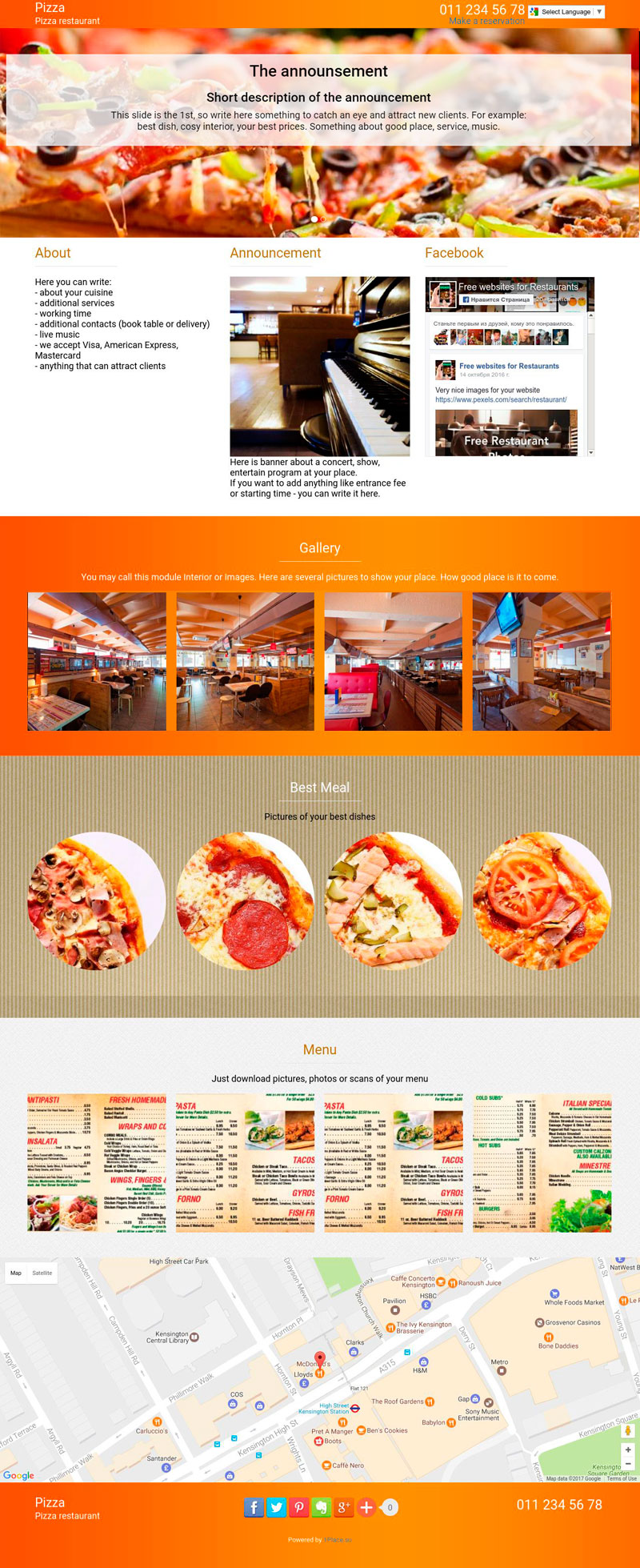 Template of a pizza restaurant website