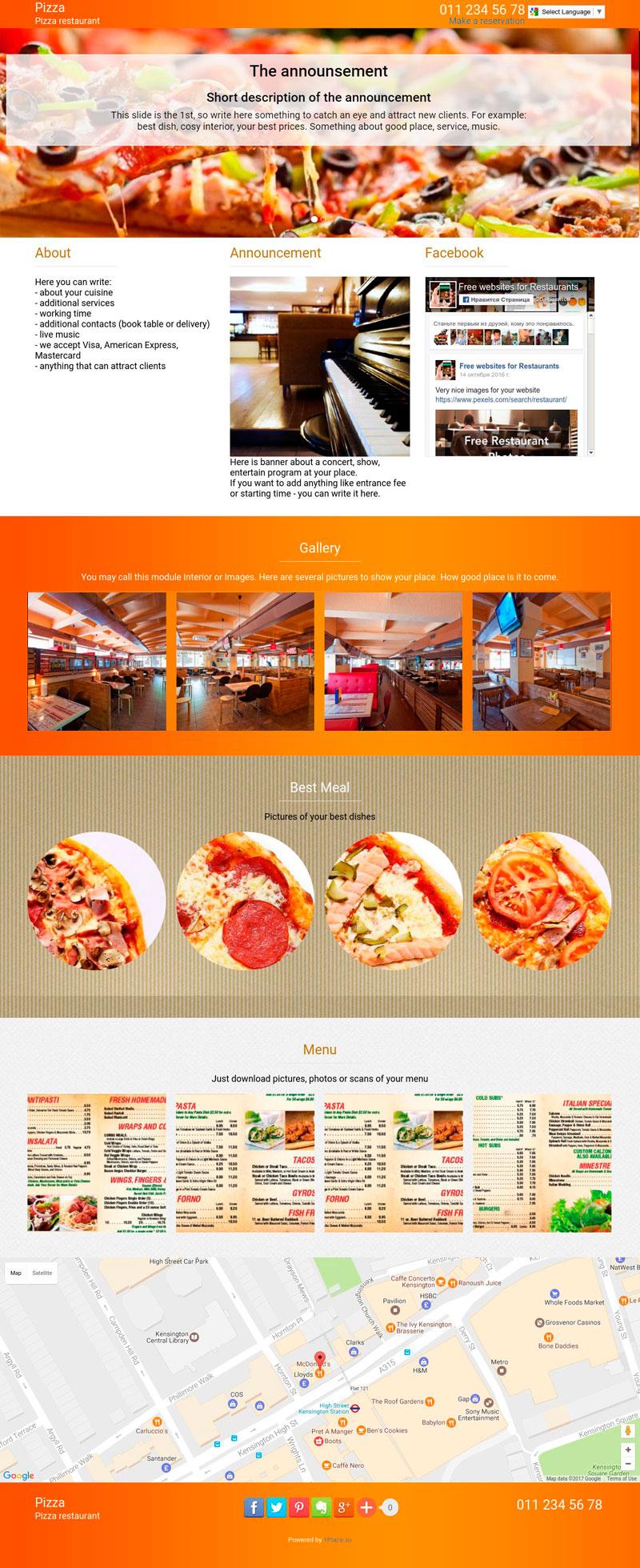 Template of a pizza restaurant website